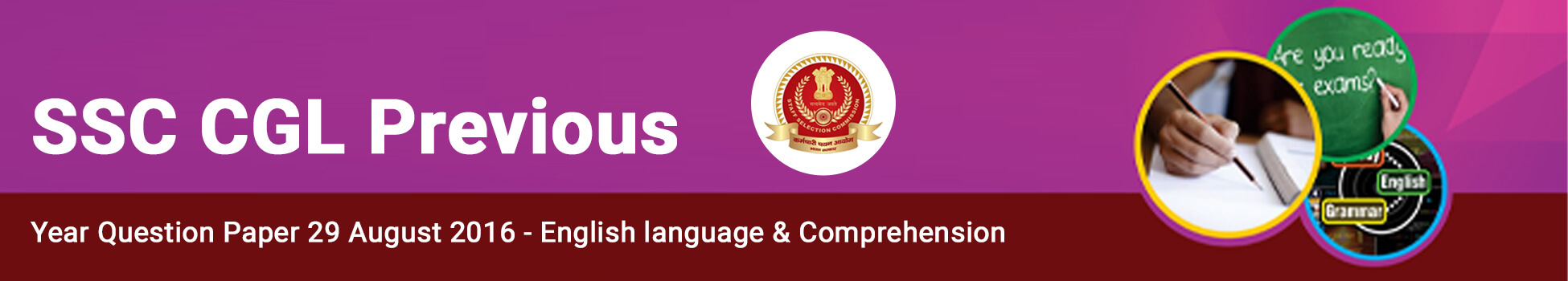 SSC CGL Previous Year Question Paper 29 August 2016 - English language & Comprehension