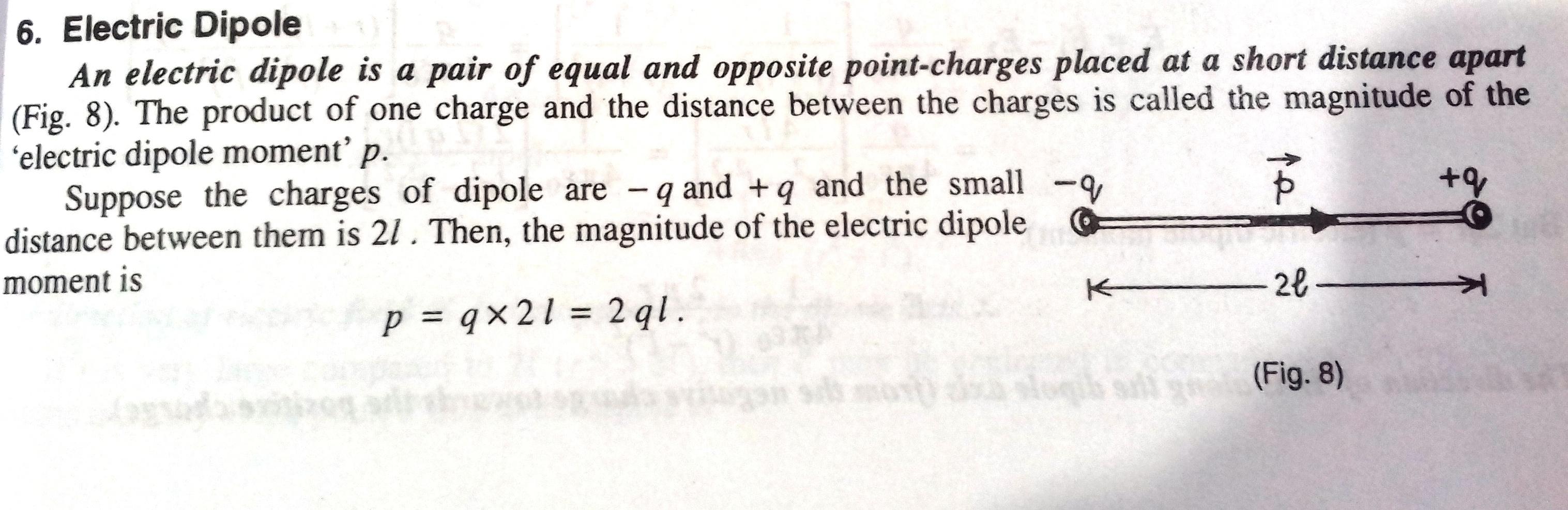 Electric Dipole in Electrostatics