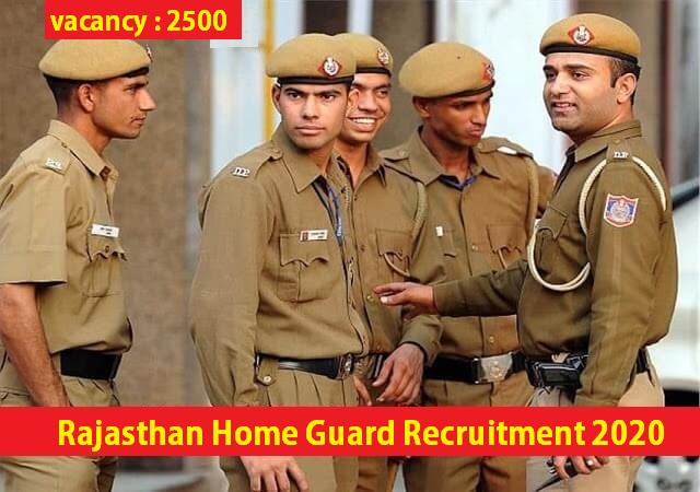 Rajasthan Home Guard Recruitment 2020 for 2500 Posts